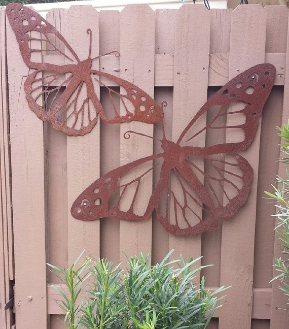 Outdoor Metal Wall Art   Natural Steel   Wall Art   Monarch Butterfly Metal  Garden Wall Decor (Large)