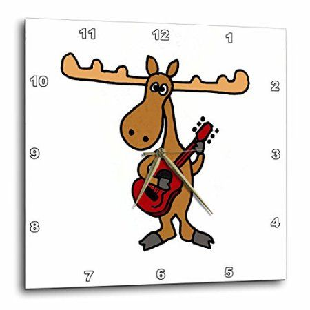 3dRose Funny Moose Playing Guitar, Wall Clock, 13 by 13-inch