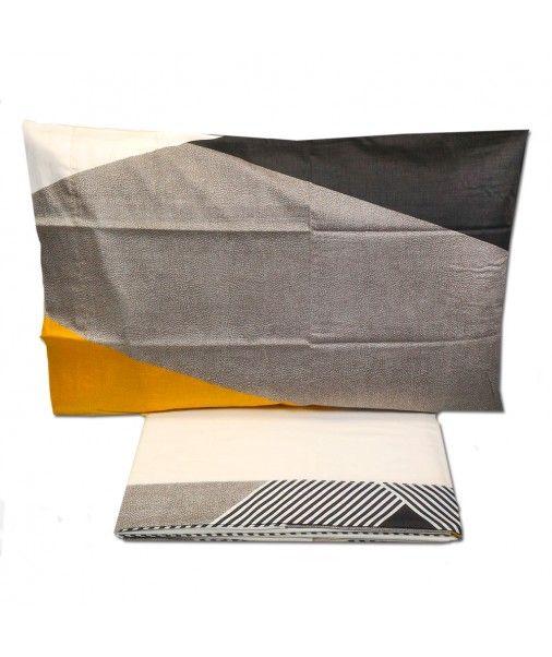 Set lenzuola Borbonese per letto matrimoniale Maxi FRAME senape 270x290
