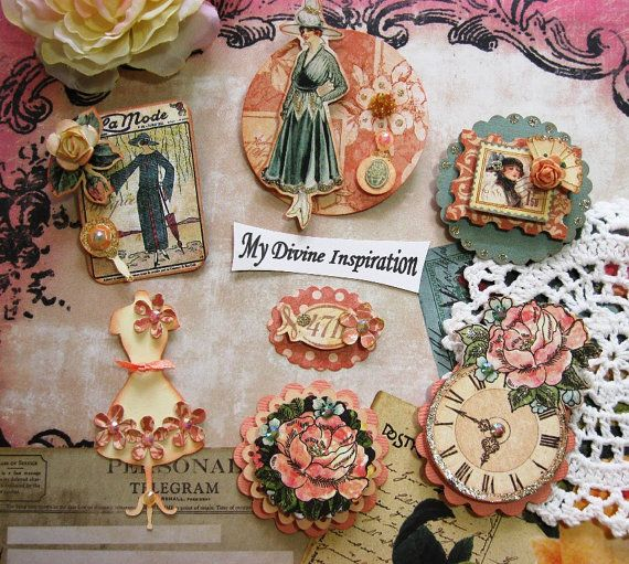 A Ladys Diary Scrapbook Embellishments by mydivineinspiration, $6.49