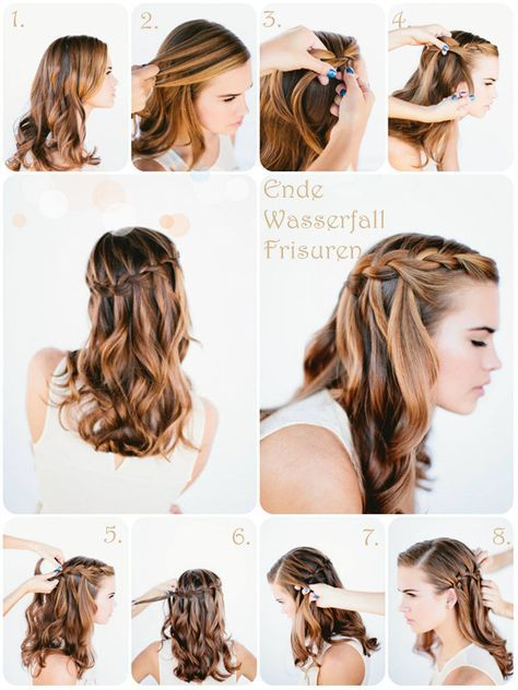 Wasserfall Frisuren Anleitung/ waterfall hair tutorial