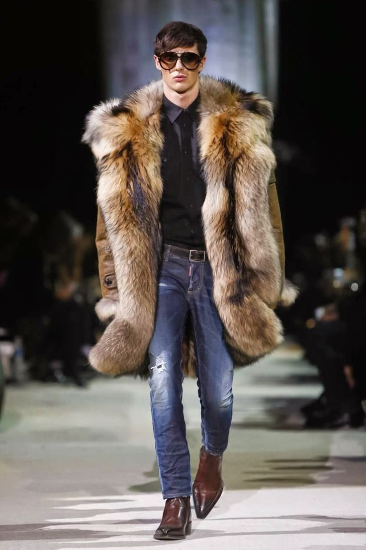 Dsquared2 fall winter 2015 menswear... Leather and fur lined coat. He looks cool…