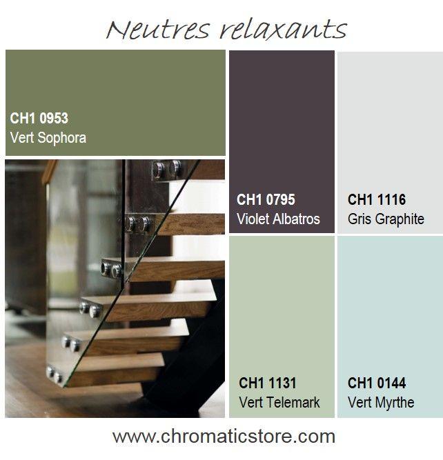 Cette palette de teintes naturelles et relaxantes, entre clair et foncé, peut servir à délimiter des espaces, dans une même pièce par exemple. www.chromaticstore.com #harmonies #vert #neutres