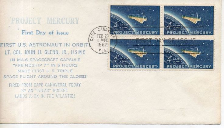 Проект Меркурий 1962.  Project Mercury 1962 | Марки, Соединенные Штаты Америки, Конверты | eBay!