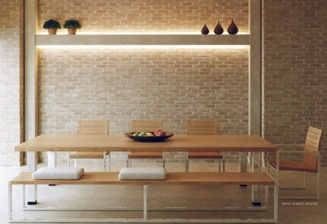 Neutral Exposed Brick Dining Room