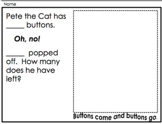 Pete the Cat Math Page / Button Subtraction (free)