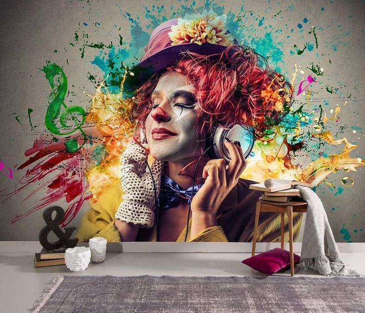 Music and Women Themed Wallpaper, Colorful Clown Home Decor