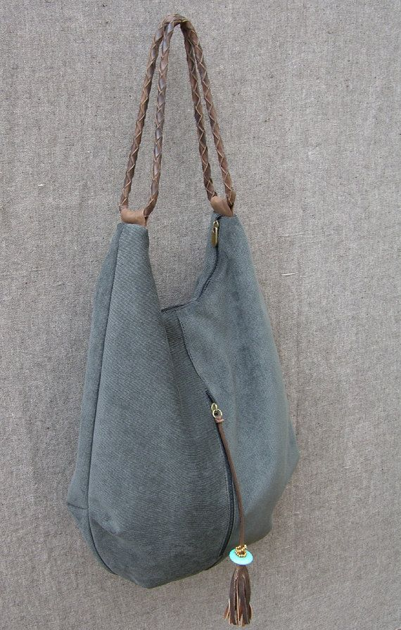 Large Hobo canvas and Leather Bag shoulder bag by RuthKraus