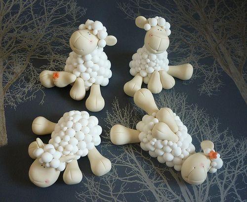 Sheep wedding cake toppers - Girls