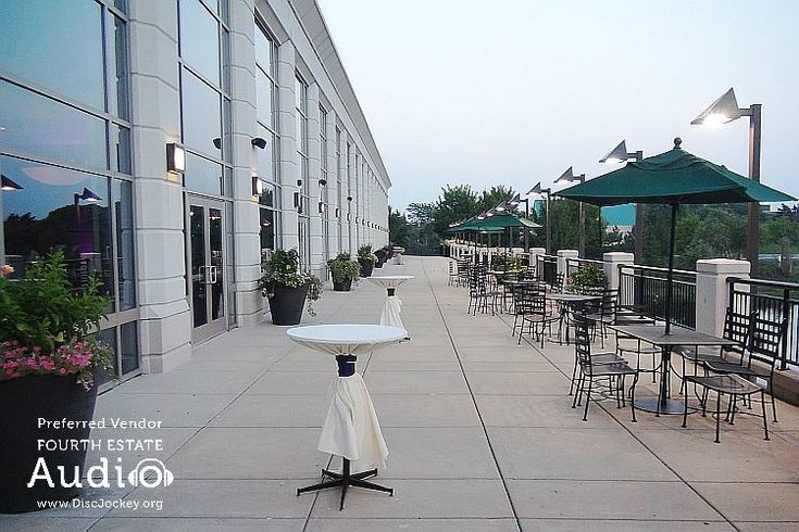 The spacious terrace at Harry Caray's Ballroom lets you get away from your party for a quiet moment. http://www.discjockey.org/harry-carays-ballroom/