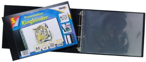 Tiger A3 Deluxe Landscape 4-d Ring Binder Folder File Art Black Presentation Portfolio  5 Sleeves