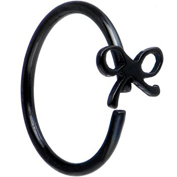 """20 Gauge 5/16"""" Black IP Girly Bow Nose Hoop 