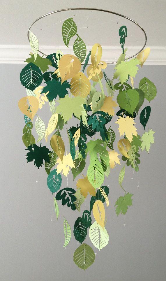 Fallende Blätter beweglich (Sommer) grüner und gelber Junge Raummobile, Kindergartenmobile, Babymobile, Foto-Stütze, Babymobile