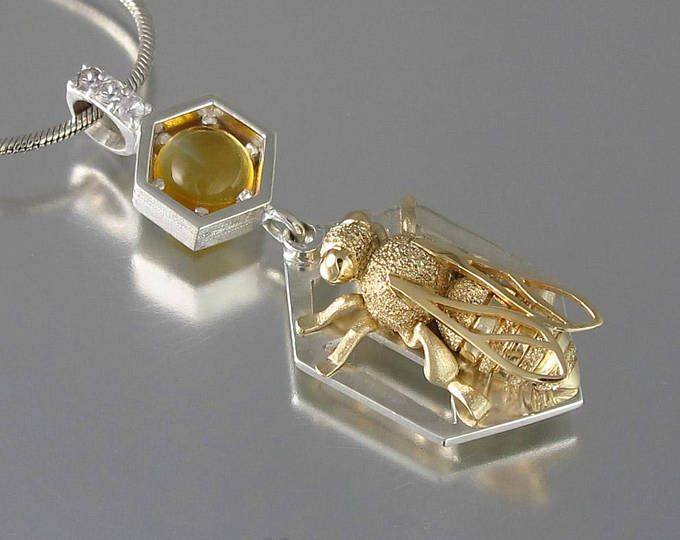 HONEY BEE silver and 14k gold pendant with citrine and white sapphires