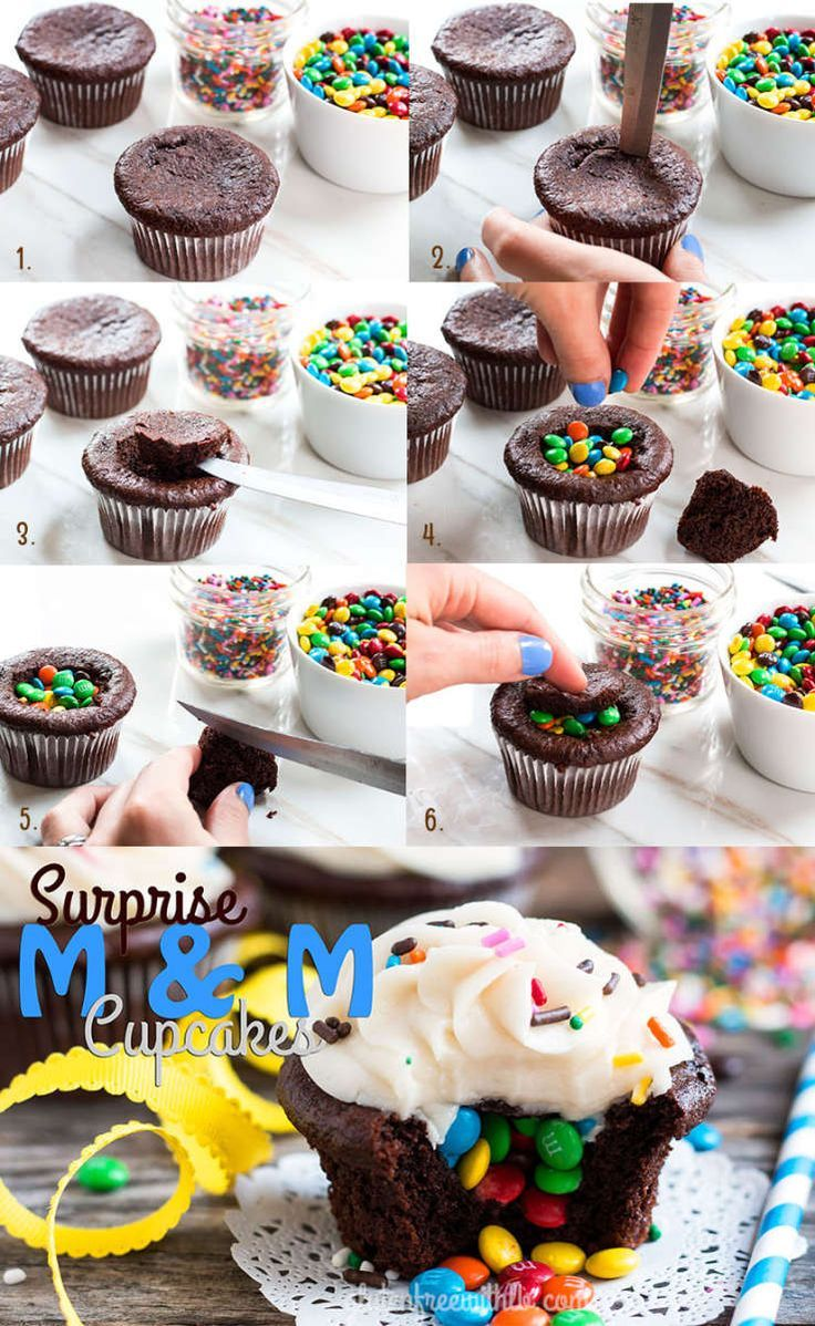 A great kids' birthday treat... A chocolate cupcake recipe full of a mini M&M surprise!  (instructional video, too!) | Gluten Free with L.B.