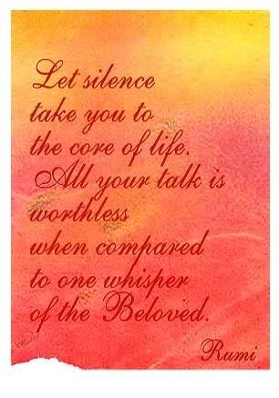 Let silence take you to the core of life.  All your talk is worthless when compared to one whicper of the Beloved.  - Rumi
