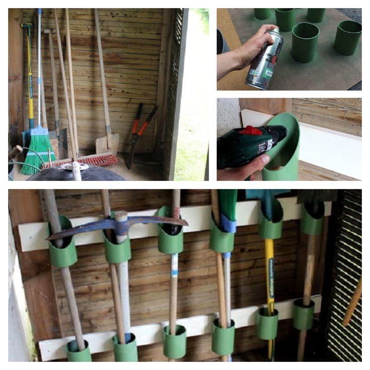 Organizador de herramientas con tubos de PVC.  Supporting DIY with our spray paint.