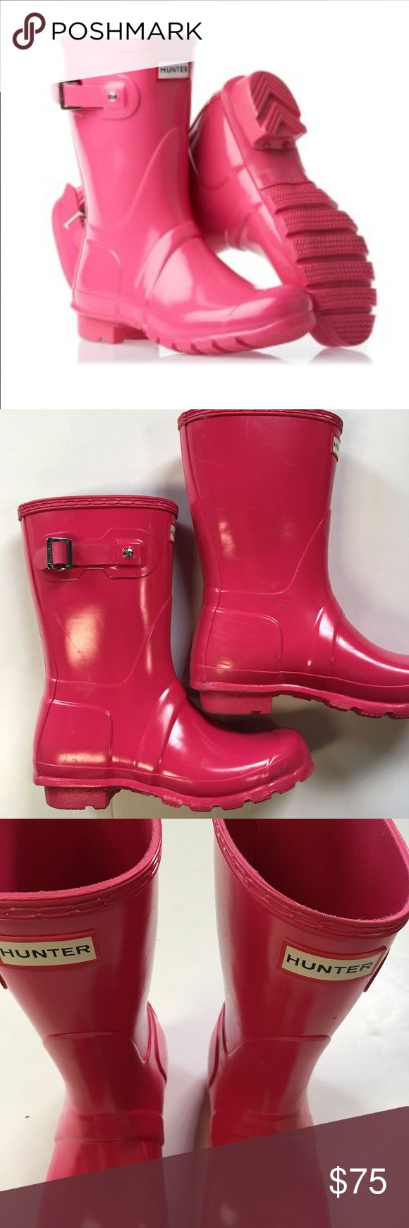 Hunter Short Wellies Rain Boots In Hot Pink Magenta or vibrant pink in color, these original short wellies do have a bit of scuffing at the back heels. They are in otherwise great shape. I do not have the original box anymore. Hunter Shoes Winter & Rain Boots