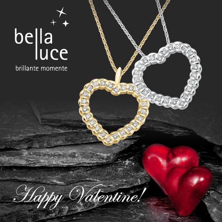 Zwei Herzen schlagen zusammen im ewigen Band der Einheit und Liebe. Und als Geschenk zum Valentinstag und Zeichen ewiger Verbundenheit empfehlen wir Diamantschmuck von bellaluce.   Ja, ein Herzanhänger lässt jedes Frauenherz höher schlagen.  Denn ein Diamant sagt zum Valentinstag mehr als tausend Worte. Hier als Anhänger mit Kette.  585/- Gelb- oder Weißgold Länge: 45cm   Brillanten zus. ca. 0,12 ct. W-SI  #valentinstag #geschenk #herzanhänger