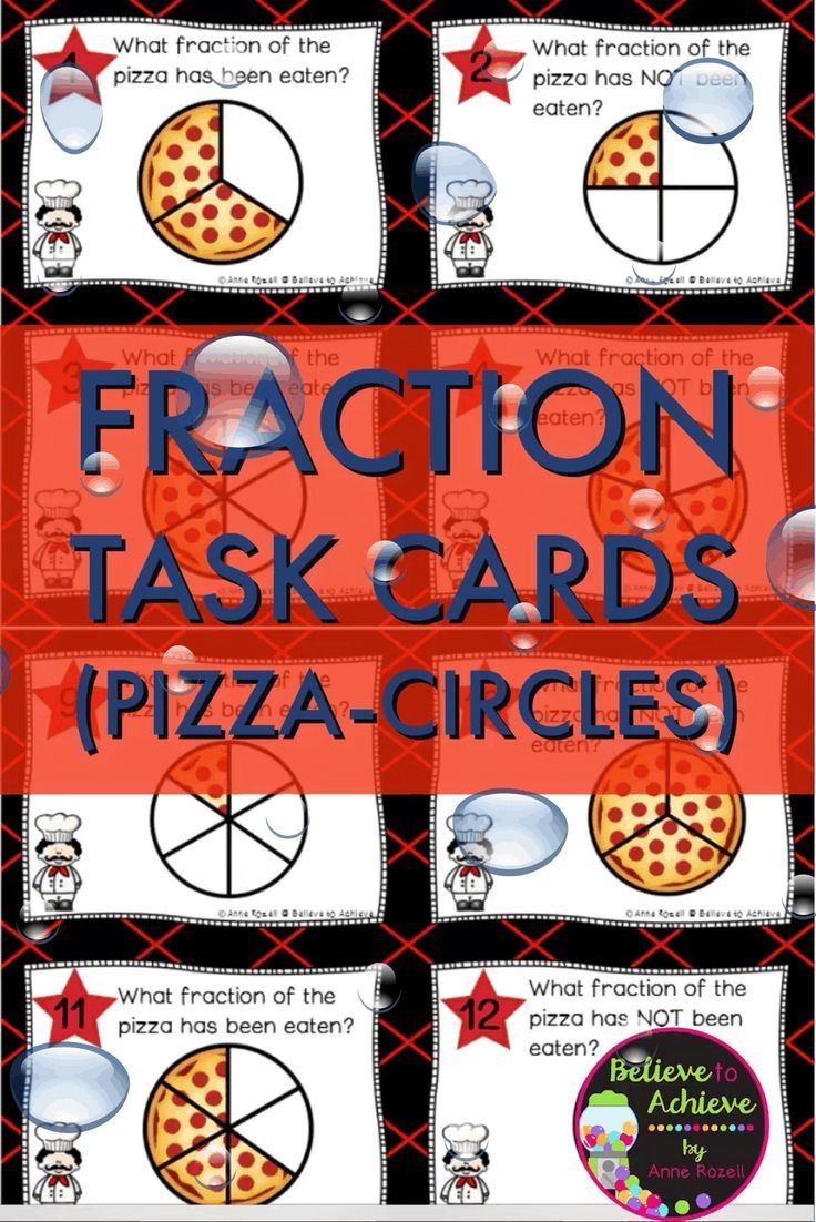 Fraction Task Cards- (Parts of a Whole) Circle Pizza ThemeThis colorful set of 24 task cards with fraction questions with circular pizza picturesrepresenting parts of a whole is a wonderful addition to your lessons!I've included a recording sheet and answer key, too!