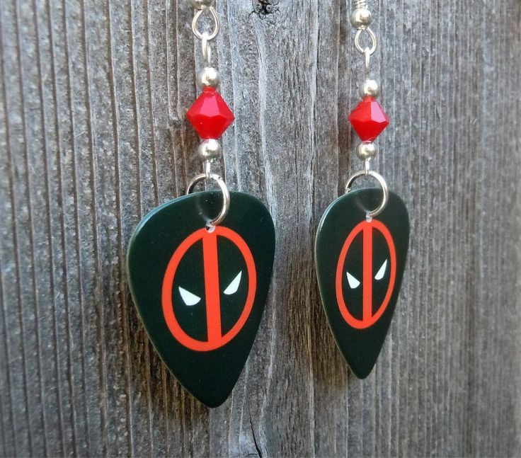 Deadpool Emblem Guitar Pick Earrings with Red Crystals by ItsYourPickToo on Etsy