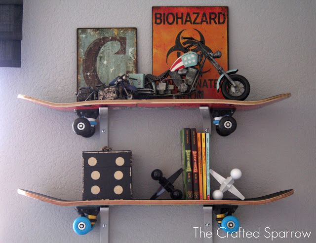 DIY Skateboard Shelves - If my little boy grows into a skateboarding hooligan someday :)