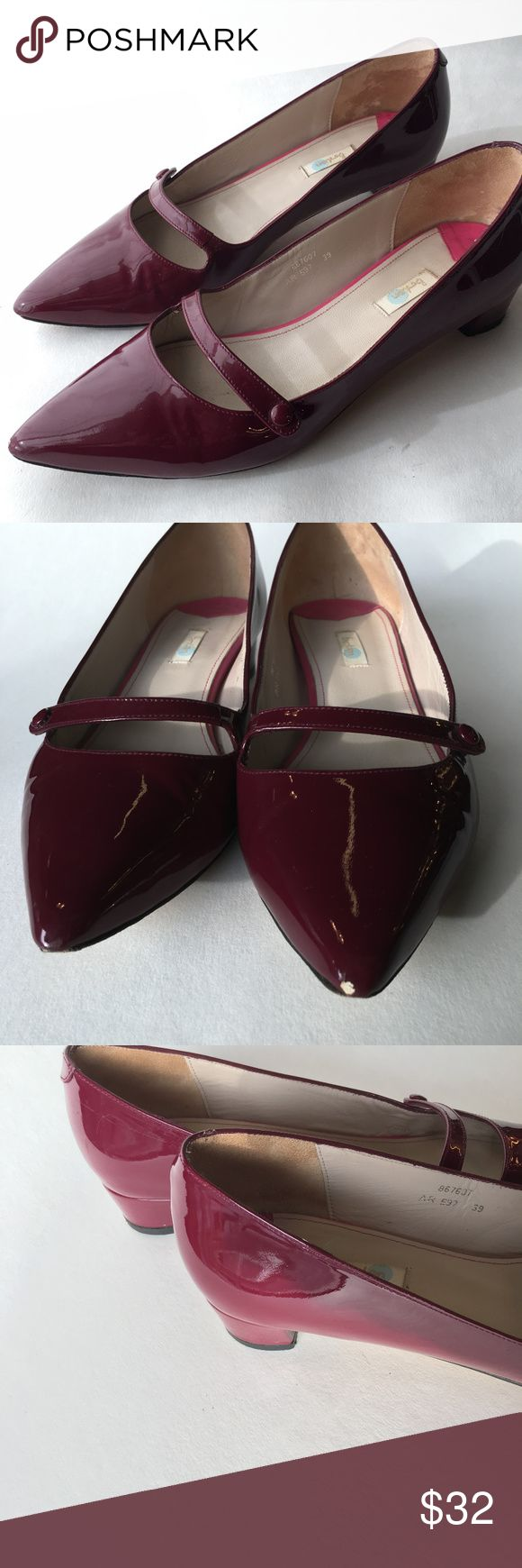 Boden Maroon Patent Leather Pumps - Low Heel Patent Leather Maroon / Raspberry color low heel shoes.  One strap with a button detail. Condition Very Good, wear to bottom as shown and to the tip of one shoe (barely noticeable from above).  Leather soles,  chunky heel. Boden Shoes Heels