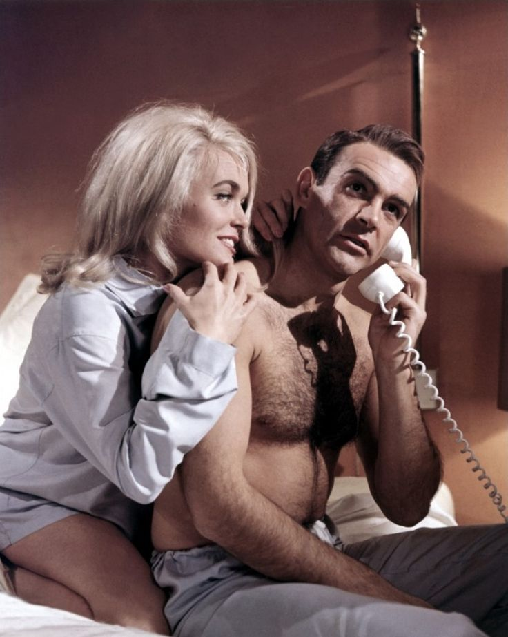 Shirley Eaton and Sean Connery shooting Goldfinger                                                                                                                                                                                 More