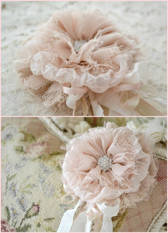 Pale Blush and Ecru Silk and Lace Gillyflower by Jenneliserose