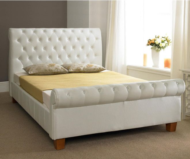Faux Leather Tufted Headboard Platform Bed White Modern