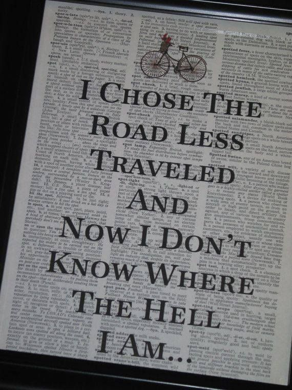 I chose the road less traveled and now I don't know where the hell I am..