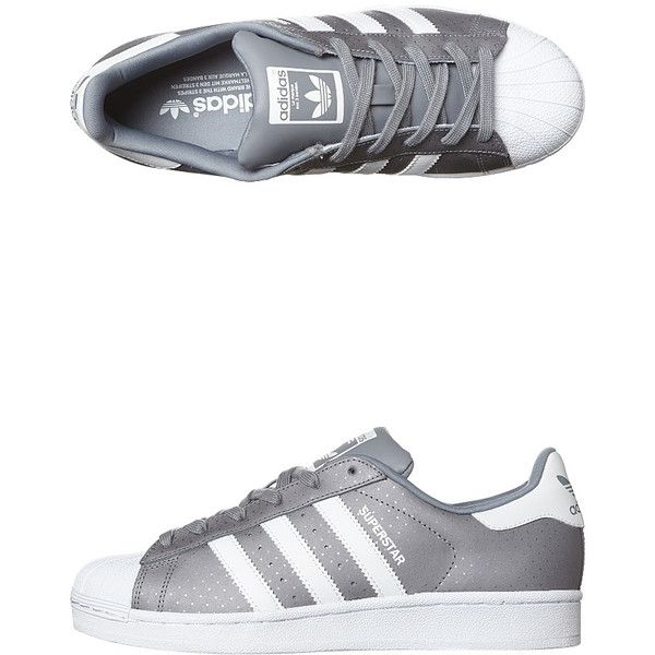 Adidas Originals Superstar Shoe ($91) ❤ liked on Polyvore featuring shoes, grey white grey, adidas originals shoes, gray shoes, adidas originals, low shoes and white shoes