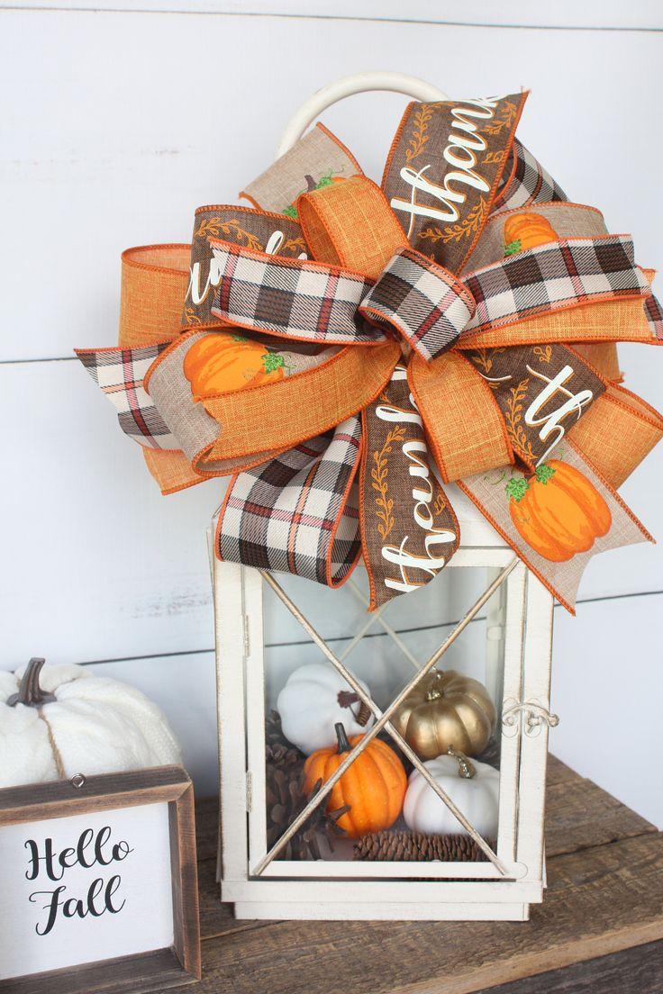 Fall Home Decor Plaid Bow for Wreath or Lantern