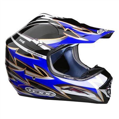Capacete Aberto em Fibra de Vidro Motocross Texx Speed-X - Preto c/ Azul - Masada
