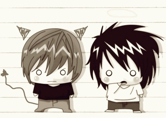 death note light and l chibi - photo #24