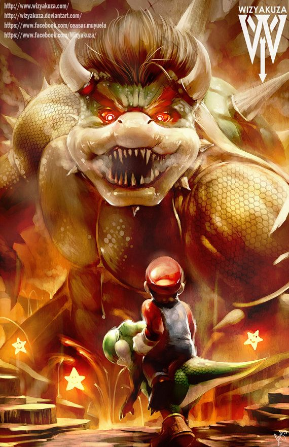 Mario y Yoshi vs Bowser - el nivel Final - Super Mario Bros - impresión Digital de 11 x 17