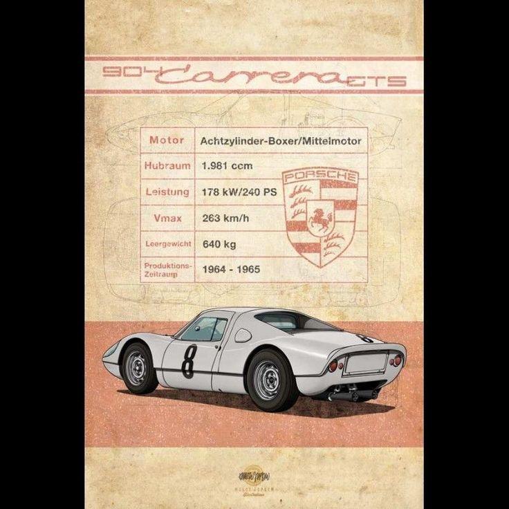 Affiche Porsche 904 Carrera GTS imprimée sur plaque Aluminium Dibond 40 x 60 cm • EUR 49,90 - PicClick FR