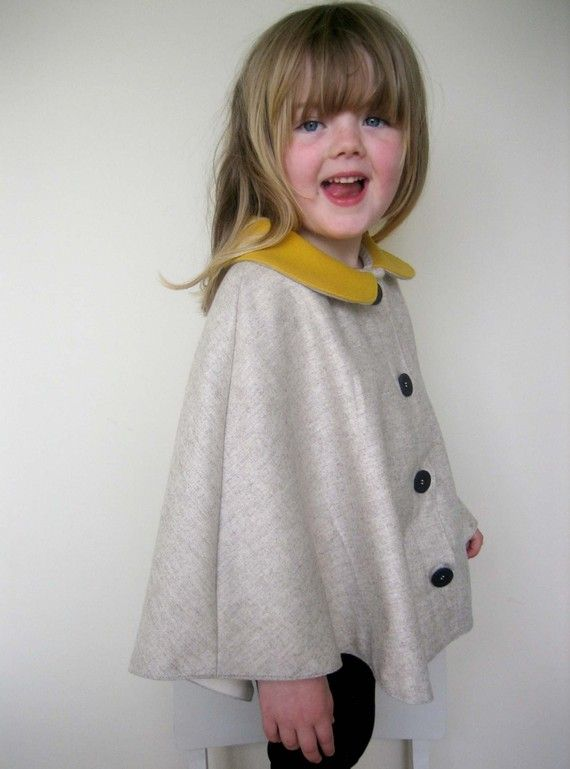 Childs Wool Cape, Barley and Yellow