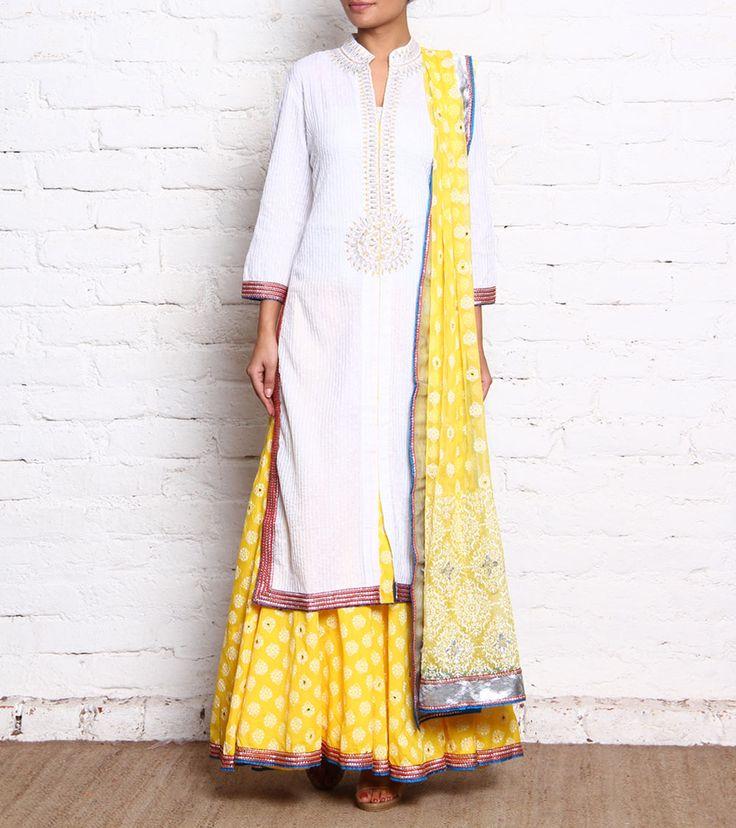 White & Yellow Pintucked Cotton Sharara Set With Gota Work