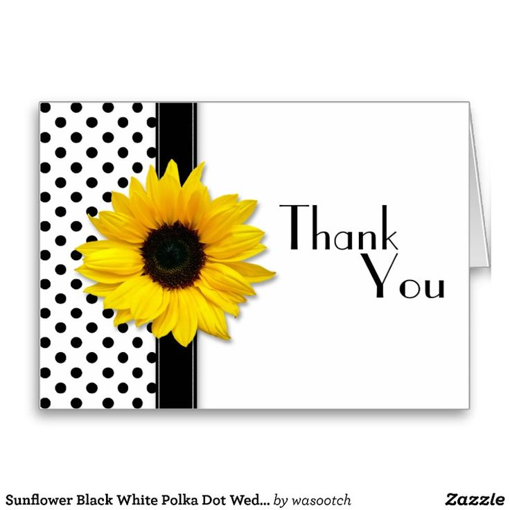 Sunflower Black White Polka Dot Wedding Thank You Card
