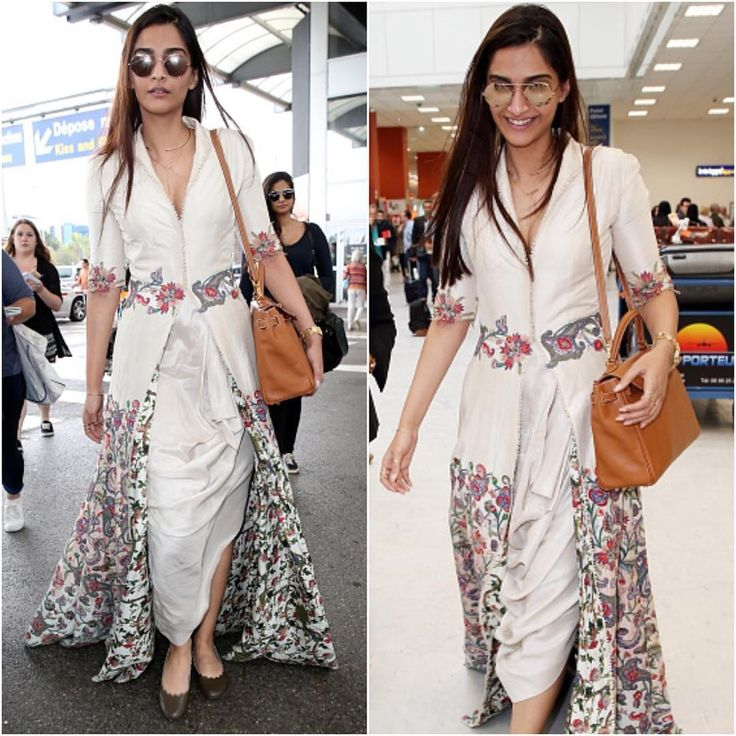 Sonam Kapoor has arrived in Cannes wearing an Anamika Khanna