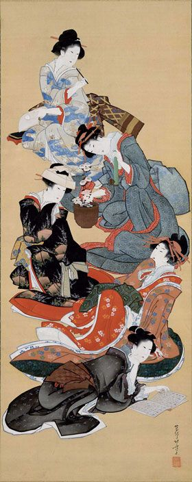 Katsushika Hokusai (1760–1849)  Five Beauties, ca. 1805–13. Hanging scroll; ink and color on silk  86.4 x 34.3 cm,Seattle Art Museum, Margaret E. Fuller Purchase Fund, 56.246  In this luxury commission, Hokusai accommodates five figures in a single composition by arranging them vertically and connecting them with drapery. Hokusai arranges the women in an intriguing hierarchy. At the top, a woman in an elegant robe with iris-marsh motif, an allusion to the Heian-period Tales of Ise.