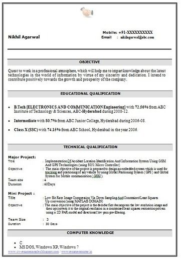 B Tech Resume Format For Fresher Format Fresher Resume Download