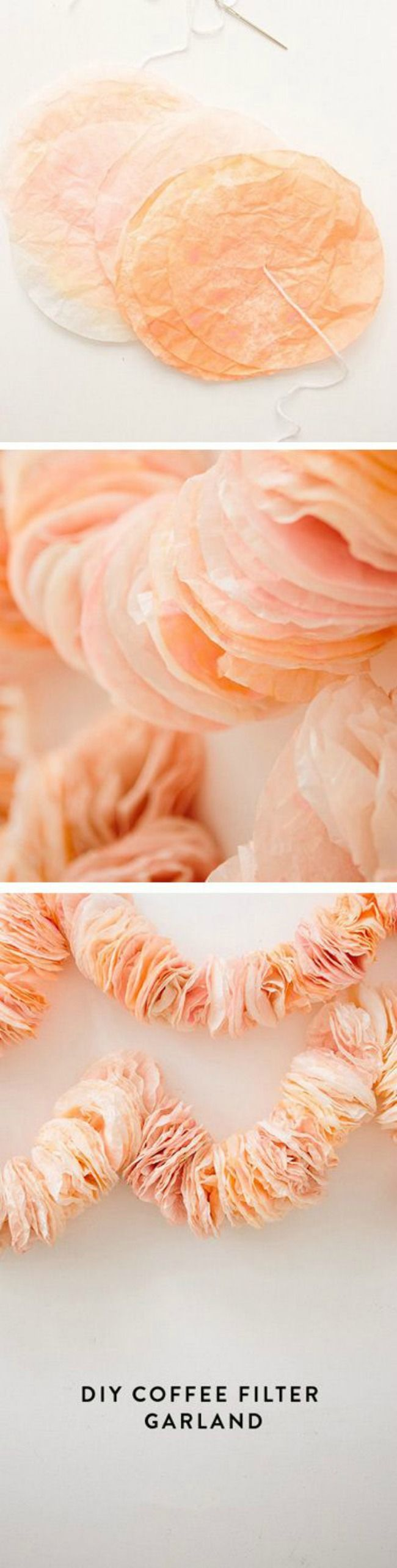 Coffee filter craft ideas! Coffee filter wreath. Coffee filter pom poms. Coffee filter flowers.