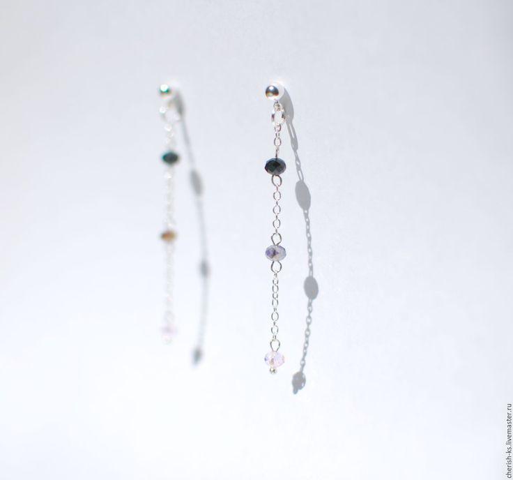 Купить Серебряные серьги фиолетовые - длинные серьги, серьги цепочки, серьги гвоздики серебро. Jewelry silver earings chain, unique jewelry.