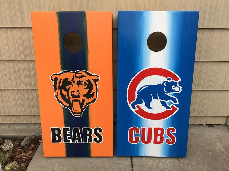 chicago bears and cubs faded cornhole sets - Corn Hole Sets