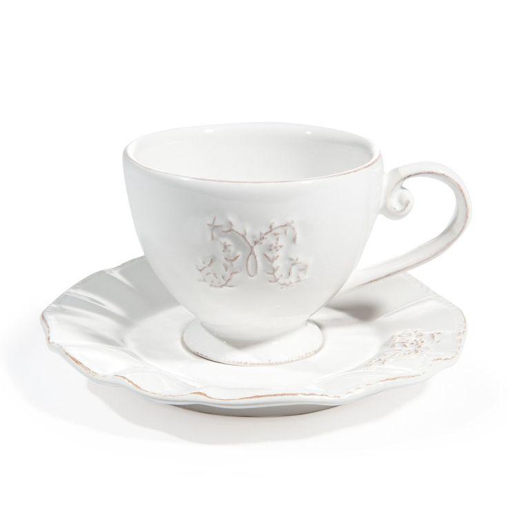 Maisons du Monde | 'Bourgeoisie' Collection, White - Teacups/Saucers, White -- Tasse et soucoupe à thé en faïence blanche ... - lot de 6