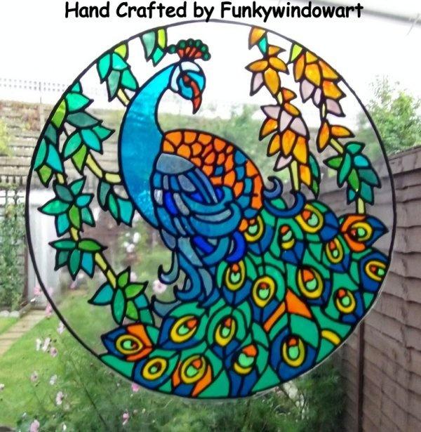 Peacock Mandala Static Window Clings Hand Painted Peacock Mandala