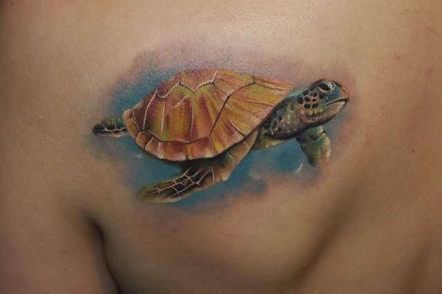 Sea Turtle Tattoo On Back