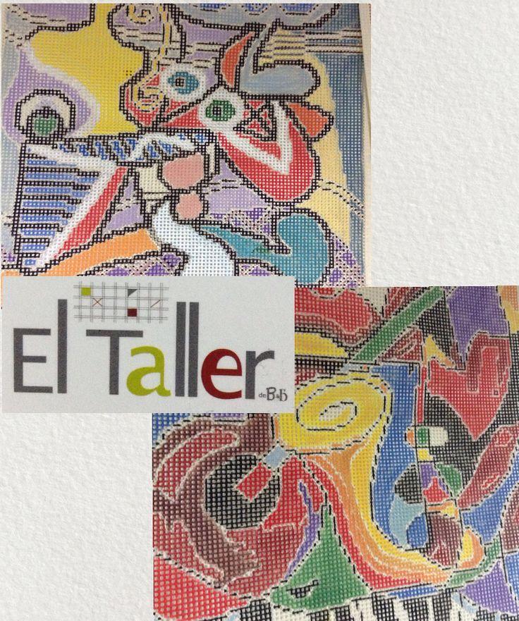 Esterillas pintadas a mano para bordar en punto cruz, reproducciones de pinturas de Picasso y Joan Miró